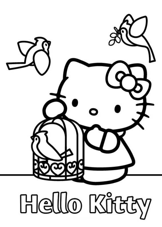 a desenhar Hello Kitty Para Meninas colorir
