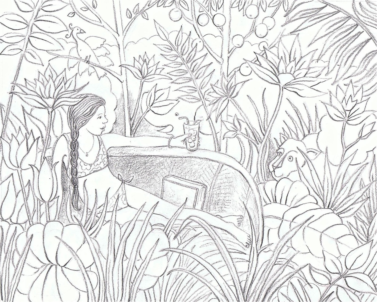 Line Art Jungle : Just pencil on paper jungle dream