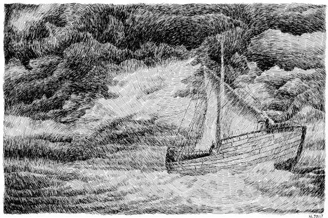 bateau, voile, vent, tempête, storm, nuages, clouds, croisière, vagues, waves