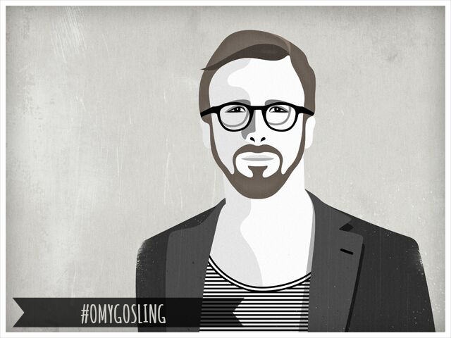 Ryan Gosling ilustración hipster