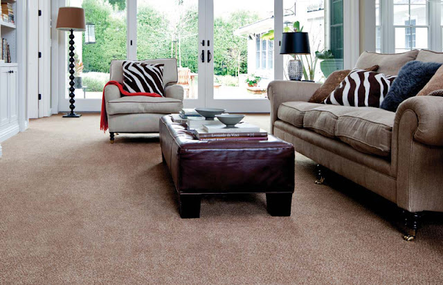 Carpet makes this family room comfortable and stylish.