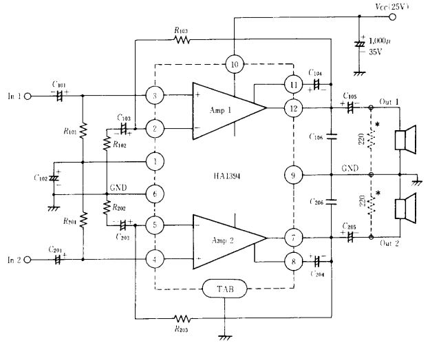 Dual 6 to 8 watt audio power amplifier