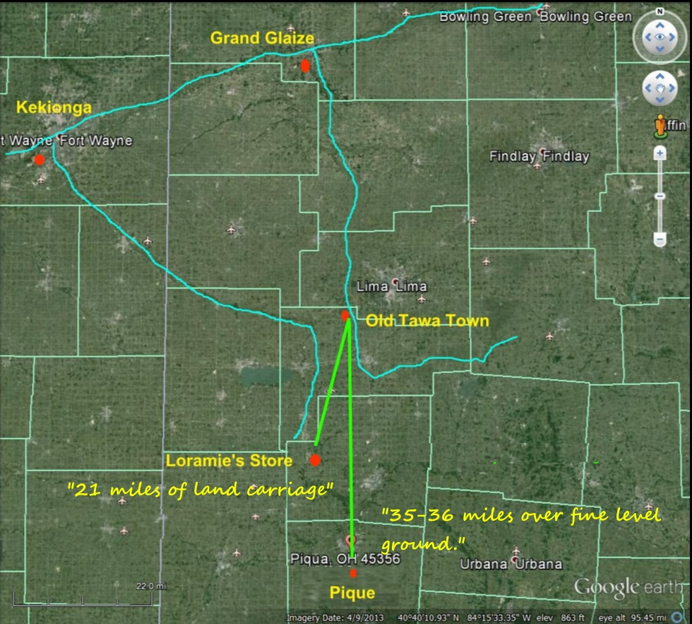 calculate the exact distance between laramie s store fort loramies and fort amanda on the auglaize river using topographical maps we calculated the