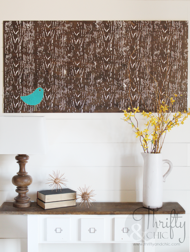 DIY large textured wall art for under $15! Using spackling compound and plywood.