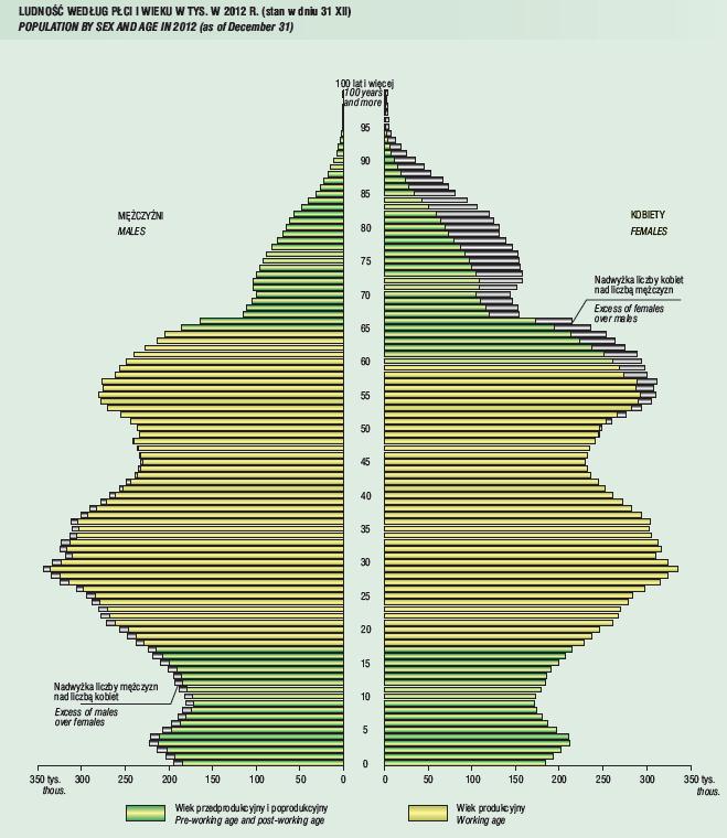 Struktura ludności Polski w 2012 r. - źródło GUS