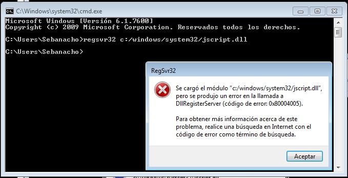 Error en la ejecucion del servidor