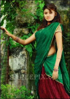 Oviya_full_view_green_half_saree_photos
