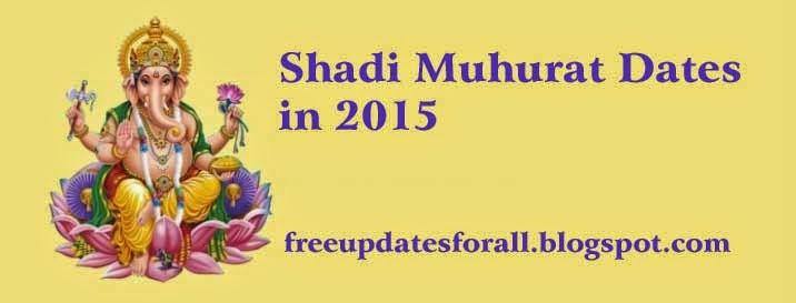 Shadi Muhurat in 2015