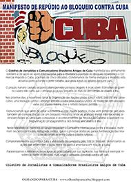 MANIFESTO DE REPÚDIO AO BLOQUEIO CONTRA CUBA