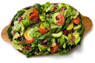 Picture of Avocado and Greens Salad on a brown plate..