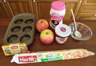 Ingredients for four serving of apple rose dessert