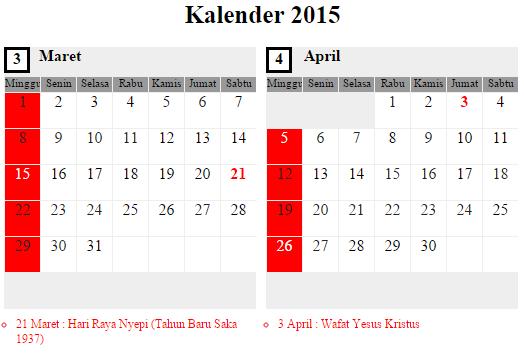Kalender 2015: Maret - April