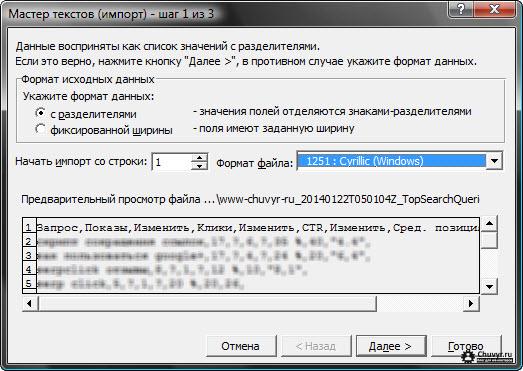 выбор формата исходных данных, начальной строки импорта и кодировки файла в мастере текстов MS Excel