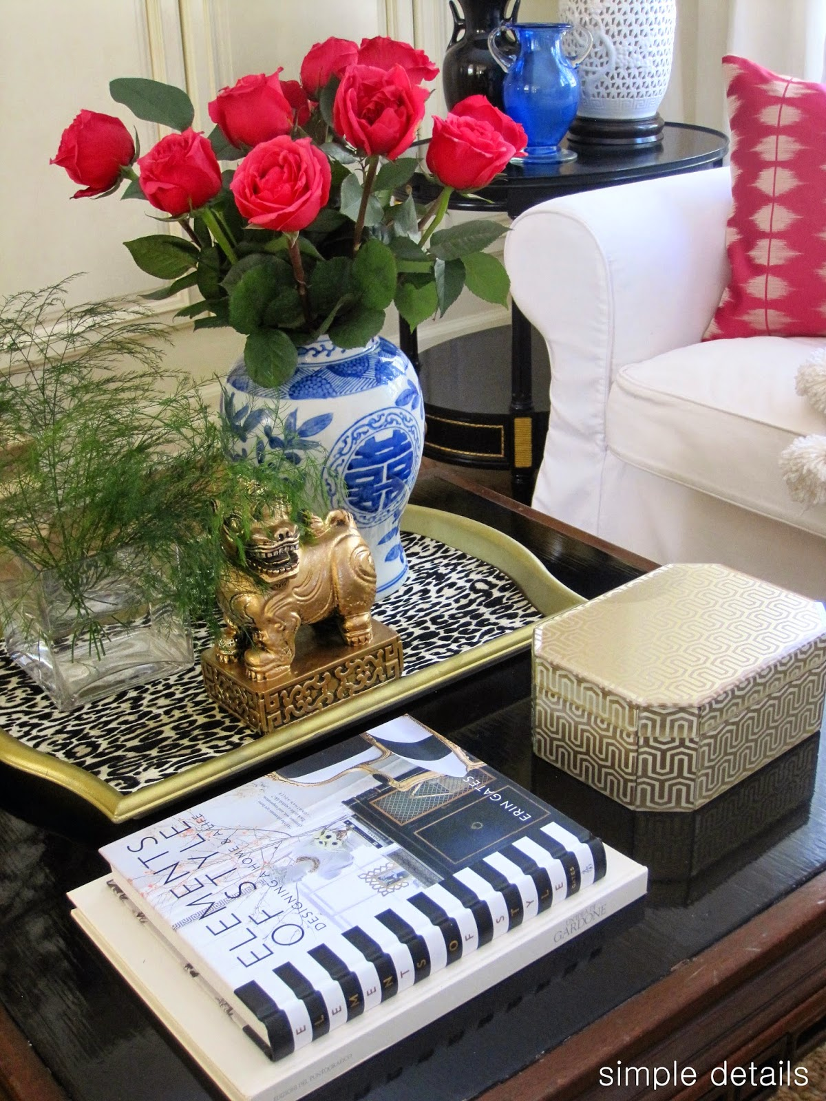 Simple details coffee table reveal and styling tips bit of quirk the greenery in the clear square vase is the fern filler that came with the roses i used the same on the first coffee table too geotapseo Choice Image
