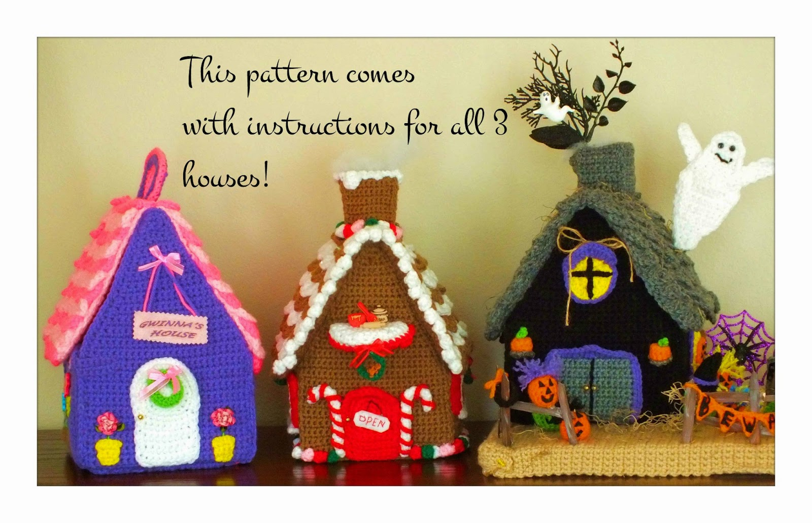 Connies Portable Purple Doll House© Christmas Gingerbread House© Halloween Haunted House Patterns©