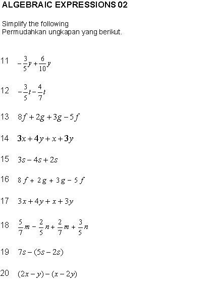 Soalan Latihan Algebra Sample Web W