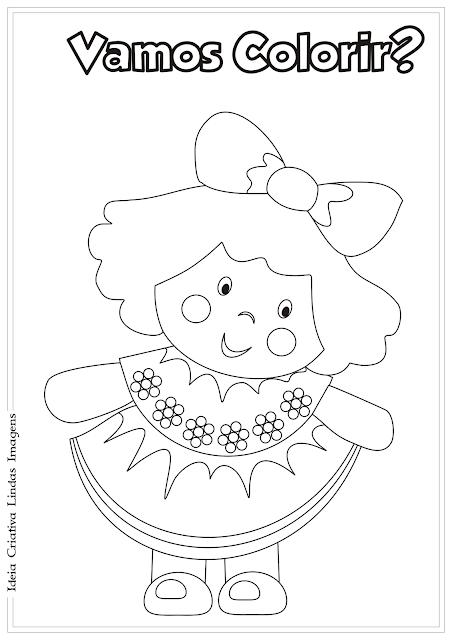Boneca desenho para colorir