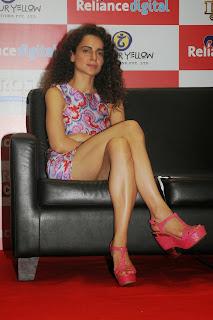 Kangana Ranaut in a Micro Mini Short Dress at tanu Weds Manu Returns Promotion at Reliance Digital Store Mumbai