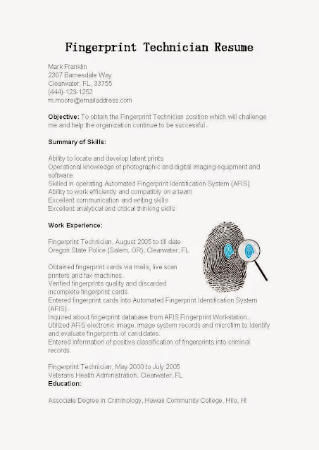 Resume Samples: Fingerprint Technician Resume Sample:Use This FREE Sample Fingerprint  Technician Resume With Objective, Skills U0026 Responsibilities To Write ...