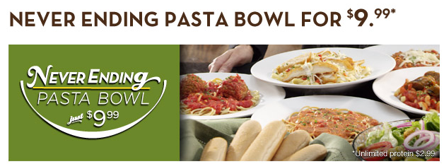 never ending pasta bowl at olive garden for $9.99