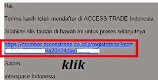 konfirmasi pendaftaran access trade