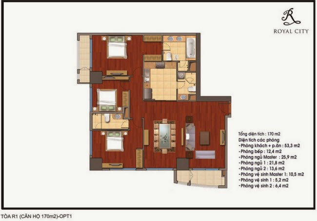 Chi tiết thiết kế căn hộ toà R1 chung cư Royal City diện tích 170 m2