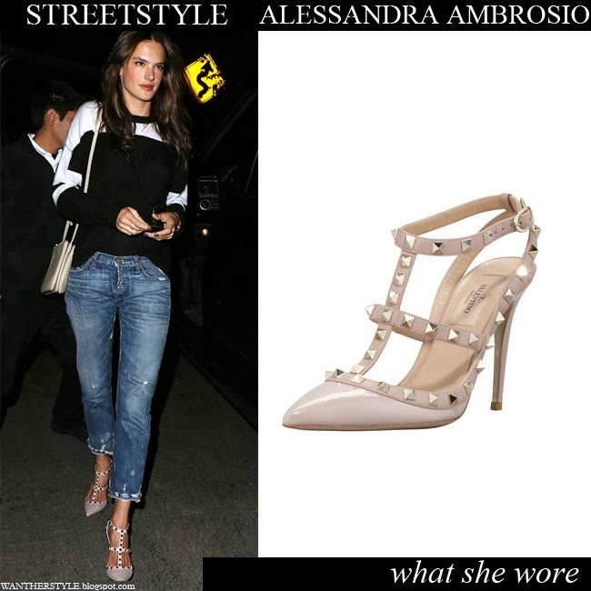 Alessandra Ambrosio at Chateau Marmont in studded t-strap sandals, boyfriend jeans and black and white top Want Her Style