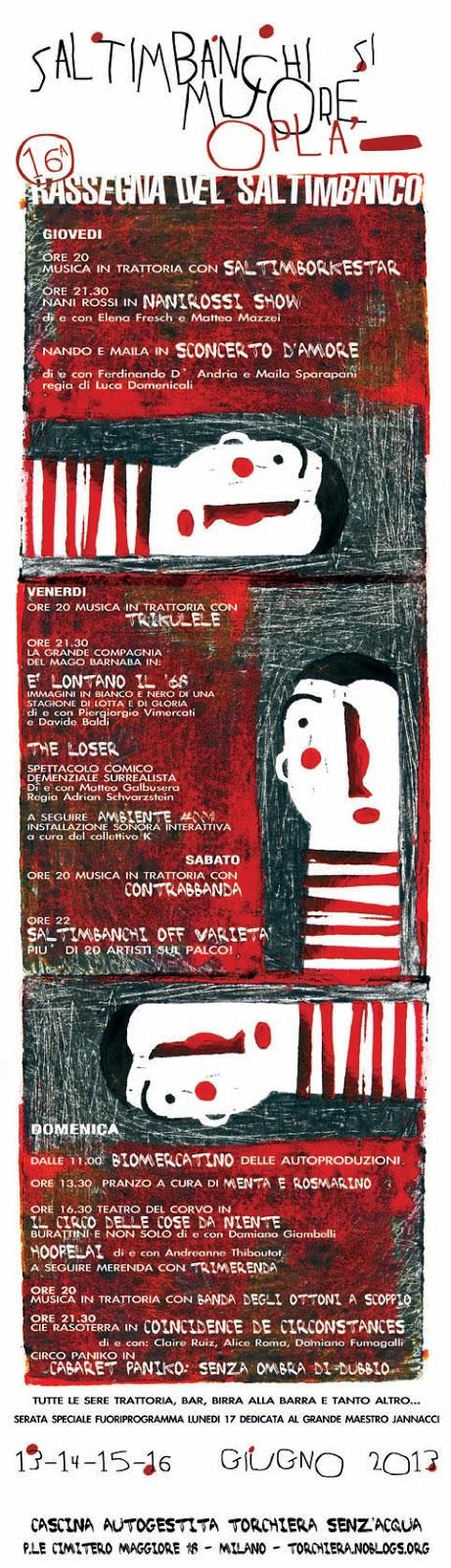 Cascina Torchiera rassegna del Saltimbanco fino a lunedì 17 giugno 2013