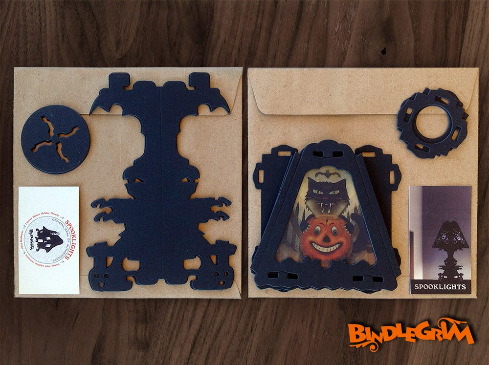 Packaging shown for vintage-style paper Halloween decorations by holiday Halloween artist Bindlegrim