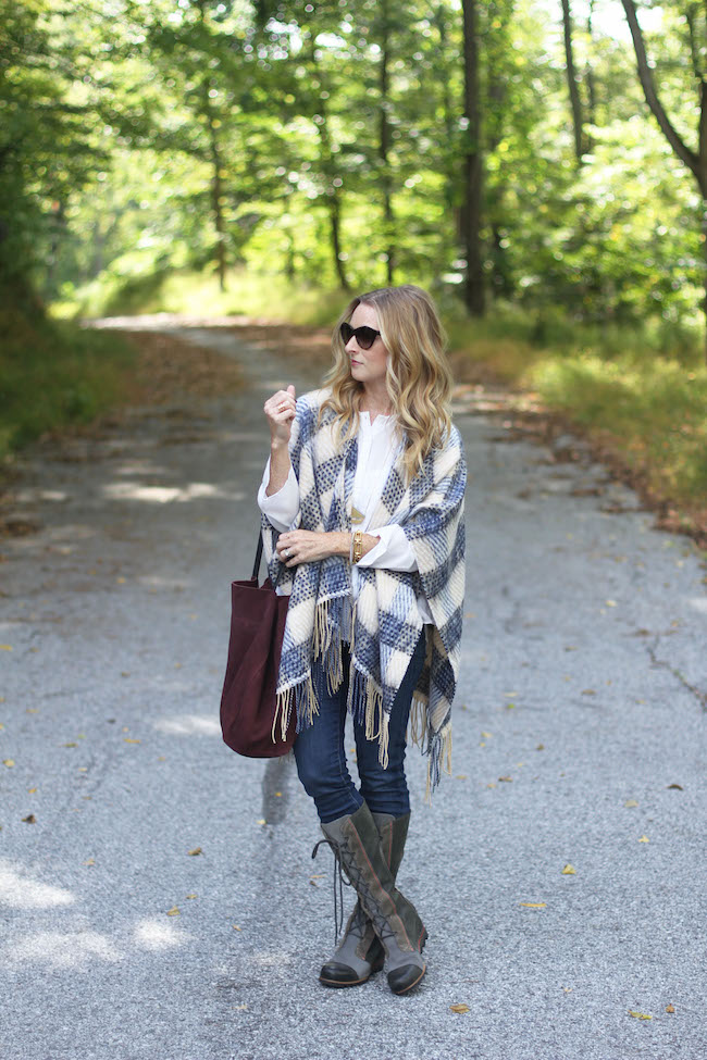 Anthropologie cape, sorel boots, madewell necklace, mango handbag
