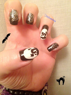 nail art gatto nero halloween