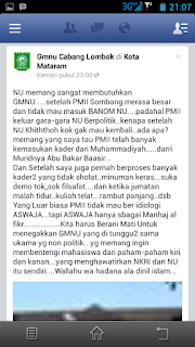 "Tanggapan Untuk Akun Facebook ""Gmnu Cabang Lombok"""