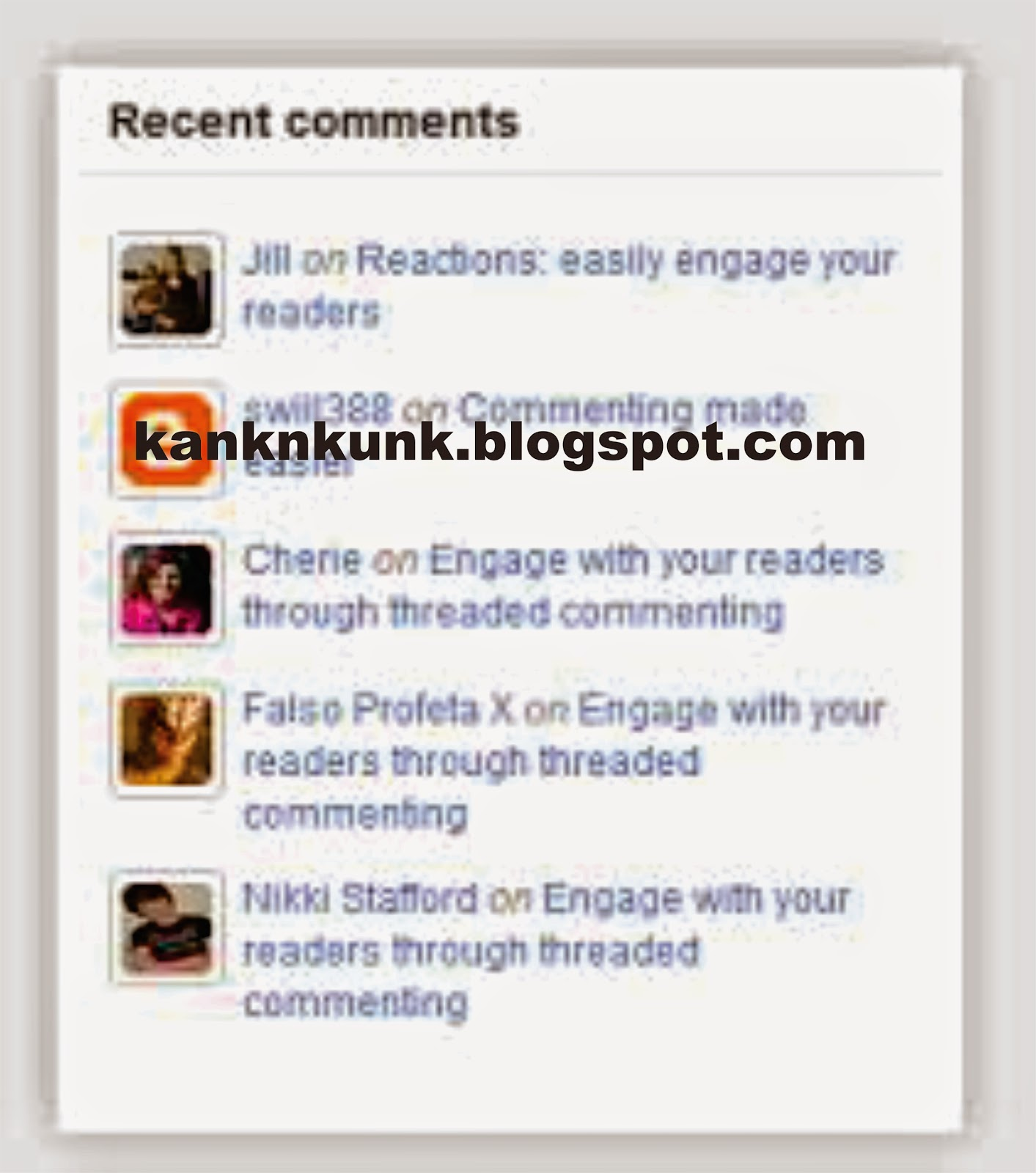 Recent Comment Blogspot
