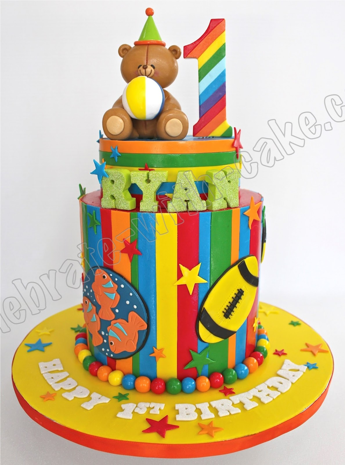 Cake Images For 1st Birthday Boy : Celebrate with Cake!: 1st Birthday Rainbow Themed Tier Cake