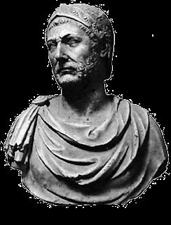 Busto del gran general Aníbal Barca de Cartago el gran enemigo y terror de los romanos.