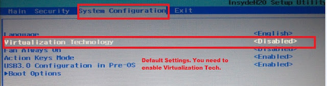 Default Virtualization Settings