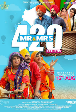 Poster Of Pollywood Movie Mr & Mrs 420 Returns 2018 300MB DVDRip 480P Full Punjabi Movie