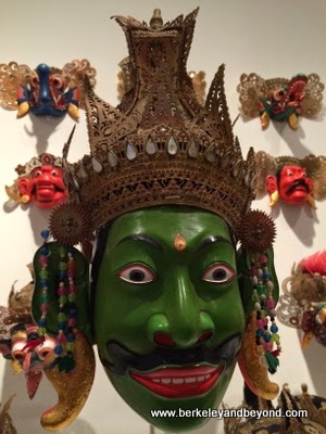 green mask from Bali at Mingei International Museum in Balboa Park in San Diego, California