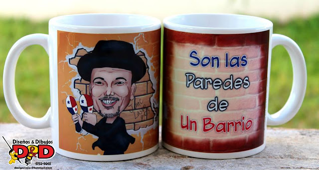 Caricaturas en Panamá impresas en tazas