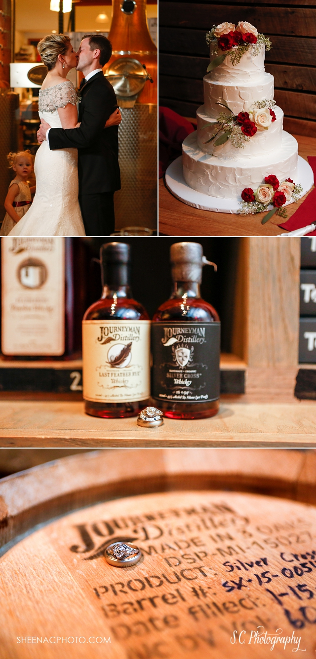 journeyman distillery wedding, rings, whisky wedding photographer, flour shop bakery wedding cake