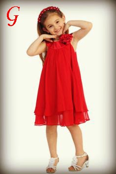 Kids-Long Frocks-Red-Gown-Girls-Baby Images