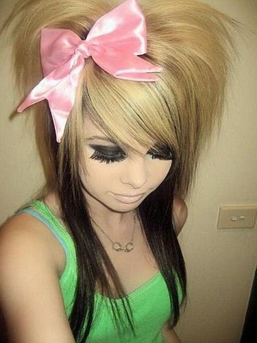 pretty hairstyles for girls with long. Emo Girls hairstyle-Long-black