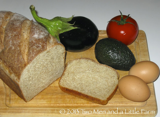 we had an eggplant an avocado a tomato a loaf of homemade wheat bread and two eggs what to do what to do