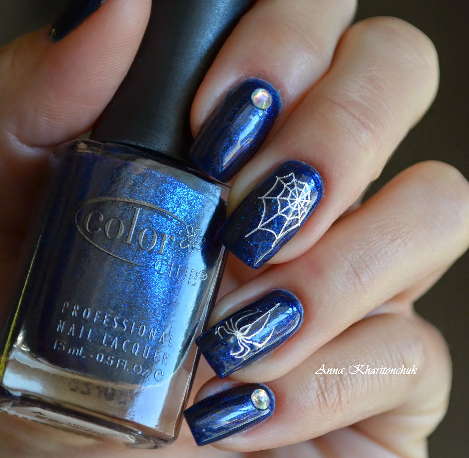Color Club Williamsburg 1001, наклейки и стразы Born Pretty Store, маникюр на Halloween