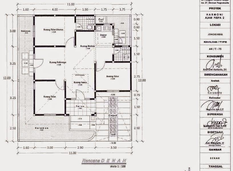 denah rumah 3 kamar tidur 1 lantai