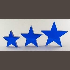"Small Blue Standing Star Crystal Award (4""H)"