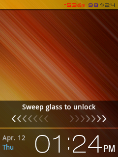 Sweep glass to Unlock Lockscreen Style