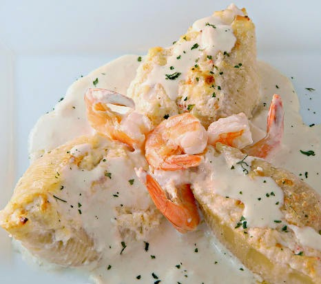 Great Cream Challenge Stuffed Pasta entry- Shrimp and Crab Stuffed Shells