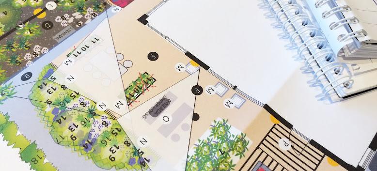 Trädgårdsritning med växtlista till ett nybyggt hus