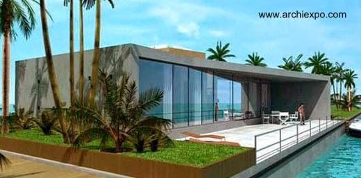 Casa prefabricada contemporánea sobre el agua en Dubai